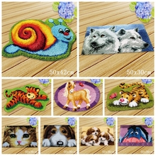 Cat Latch Hook Cartoon Dog Carpet Embroidery For Handmade Rug Button Cushion Animals Foamiran Needlework DIY