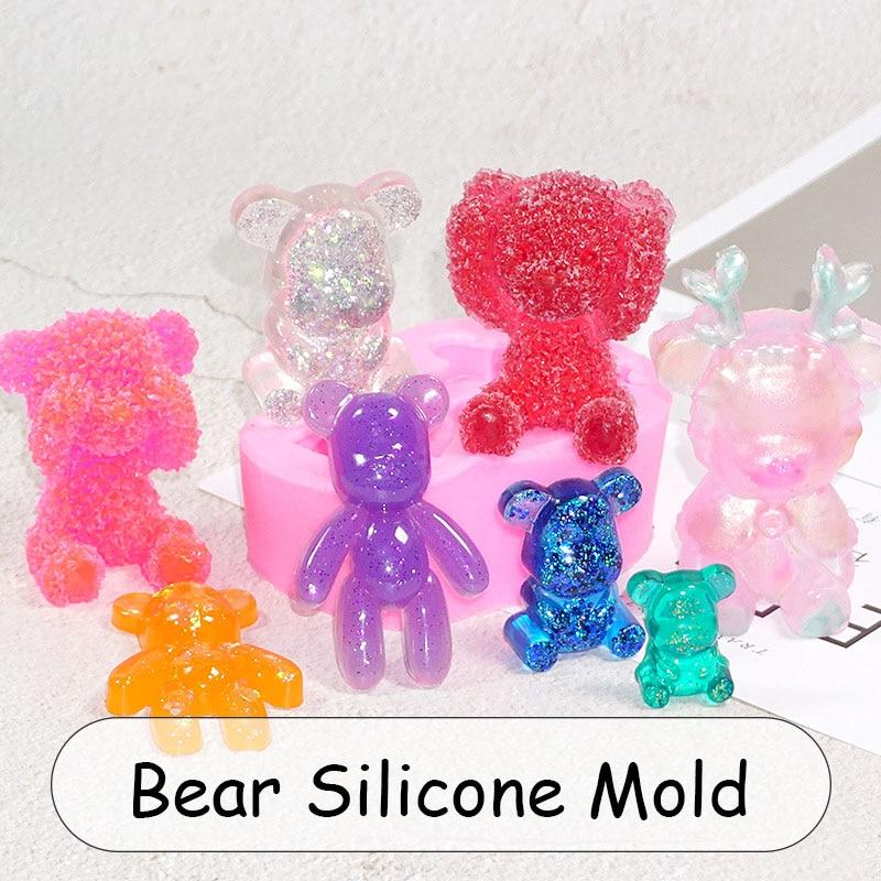 Bear Silicone Mold Kawaii Clear UV Resin Mold Decoden Cabochon Epoxy Resin Flexible Mold