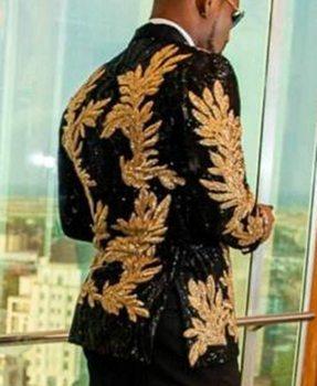 2 Pieces Slim Fit Men's Shiny Sequins Gold Applique Suits Prom Tuxedos Grooms Jacket Wedding Party Suits Set (Blazer+Pants)
