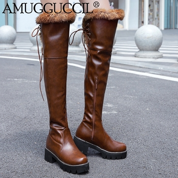 2020 New Plus Big Size 33-43 Black White Brown Lace Up Over The Knee Thigh High Lady Winter Warm Fur Women Snow Boots X1941