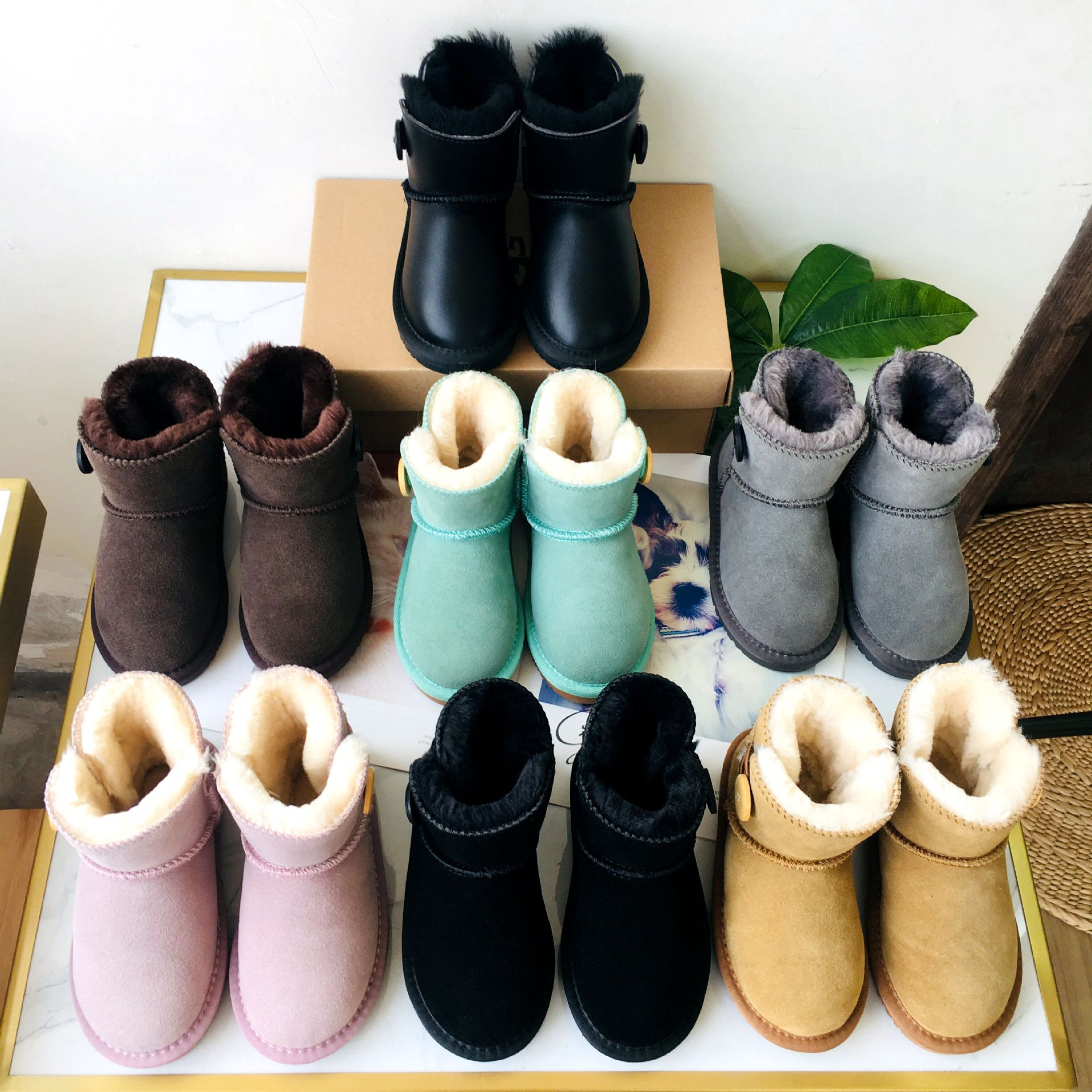 Genuine Leather children's snow  low boots parent-child boys shoes thickening baby shoes waterproof boots