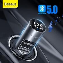 Baseus araç şarj kablosuz Bluetooth Handsfree FM verici MP3 oyuncu alıcısı çift USB telefon şarj cihazı iPhone 11 XS