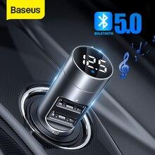 Baseus carregador de carro sem fio bluetooth handsfree transmissor fm mp3 player receptor duplo usb carregador telefone para iphone 11 xs