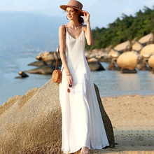 2019 New Summer White Dress Women Dresses Bohemian Solid Color Sling Fairy Long Womens Clothing