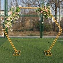 1 Uds doppel hexagonal arco schmiedeeisen bogen regal blume soporte decoración de hintergrund marco boda requisiten geburtstag