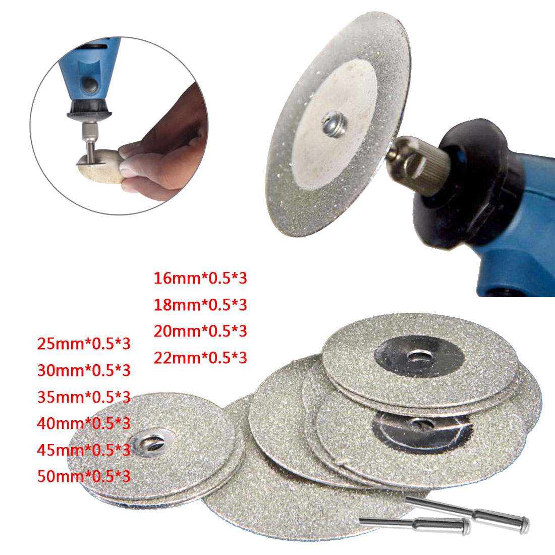 Cutting Discs Wheel 10pcs Diamond Saw Blade With 2pcs Connecting Shank For Dremel Drill Fit Rotary Accessories Tool OD 16mm-50mm