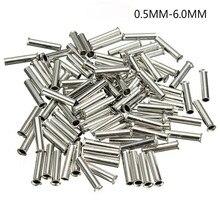 100Pcs Tin-revestido Material de Cobre Terminais Não Isolados Ponteiras Atacador 0.5mm2-6.0mm2 Cord End Crimp Conector do Cabo Elétrico