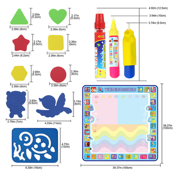 Coolplay 100x100cm Magic Water Drawing Mat Doodle Mat 4 Drawing Pens 1 Stamps Set Painting Board
