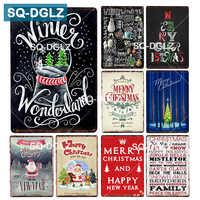 [SQ-DGLZ] Christmas Metal Sign Tin Sign Bar Wall/Door Decor Tin Sign Home Decor Painting Plaques Handed Painting Christmas Gift