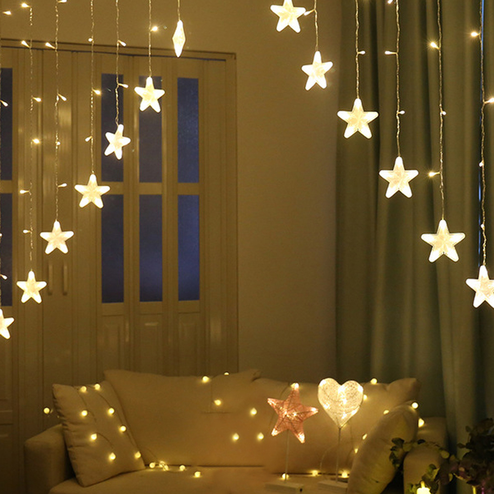 DIDIHOU Christmas Lights 220V Romantic Fairy Star LED Curtain String Lighting For Home Bedroom Wedding Garland Party Decoration