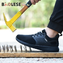 BAOLESEM Man Work Shoes Safety Male Men Steel Toe Cap Indestructible Sneaker Anti-pirerce Breathable footwear