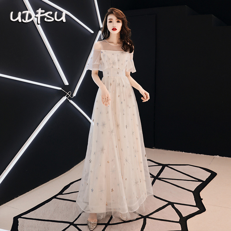 UDFSU Women Elegant Vintage Tulle A-Line   Evening     Dress   Boat Neck Ankle Length Bride   Dresses   Cold Shoulder Gowns