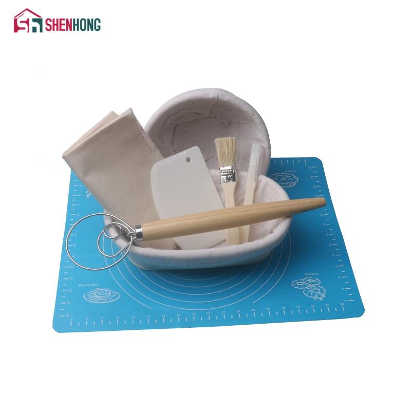 SHENHONG 8PCS Banneton Fermentation Proofing Rattan Basket Dough Bread with Arc Curved Knife Scraper Brush Danish Whisk Linen