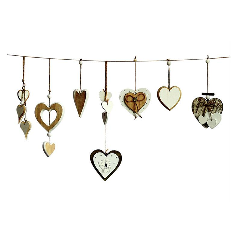 7 Pcs Creative Wooden Pendant DIY Graffiti Hanging Ornament Decor Heart Shape Wooden Piece Door Wall Decoration