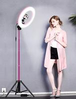 Pink 14 Landing Lamp Rack Professional Ring Light Supplementary Lamp with Bluetooth Remote Control