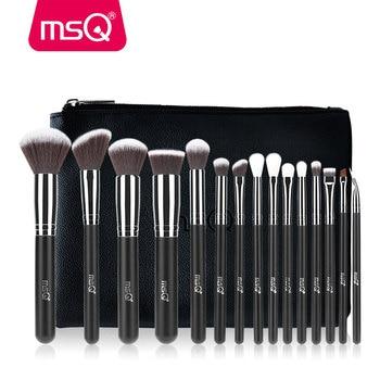 MSQ 15pcs Pro Makeup Brushes Set Foundation Eyeshadow Blusher Make Up Brush Kit High Quality Synthetic Hair With PU Leather Case