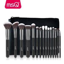 MSQ Juego de brochas de maquillaje, 15 uds, Pro, base, sombra de ojos, colorete, Kit de brochas de maquillaje, pelo sintético de alta calidad con Funda de cuero PU