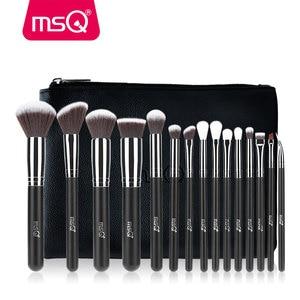 Image 1 - MSQ Juego de brochas de maquillaje, 15 uds, Pro, base, sombra de ojos, colorete, Kit de brochas de maquillaje, pelo sintético de alta calidad con Funda de cuero PU