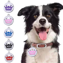 Dog Collar Cute Mini More Crown Print Diamond Dog Cat ID Name Tags Pet Jewelry Necklace hondenriem ошейник для собак светящийся(China)