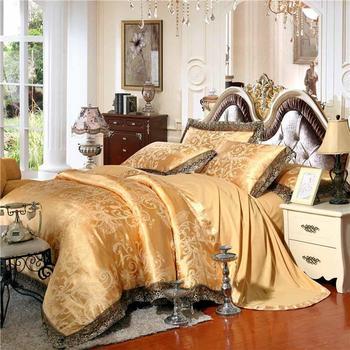 47 Gold/White/Blue Jacquard Silk Bedding Set Luxury 4/6pcs Satin Bed Set Duvet Cover King Queen Bedclothes Bed Linen Sets