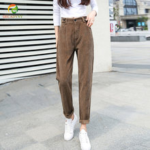 Autumn Winter High Waist Corduroy Harem Pants Women Plus Size Loose Black Pants Women Long Trousers Solid Sweatpants Female(China)