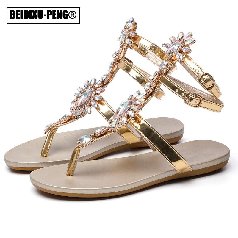 Sexy Boho T-strap Flat Heel Slippers Shoes Rhinestone Diamonds Clip-toe Sandals Comfortable Thong Gladiator Flip Flops 2021 New