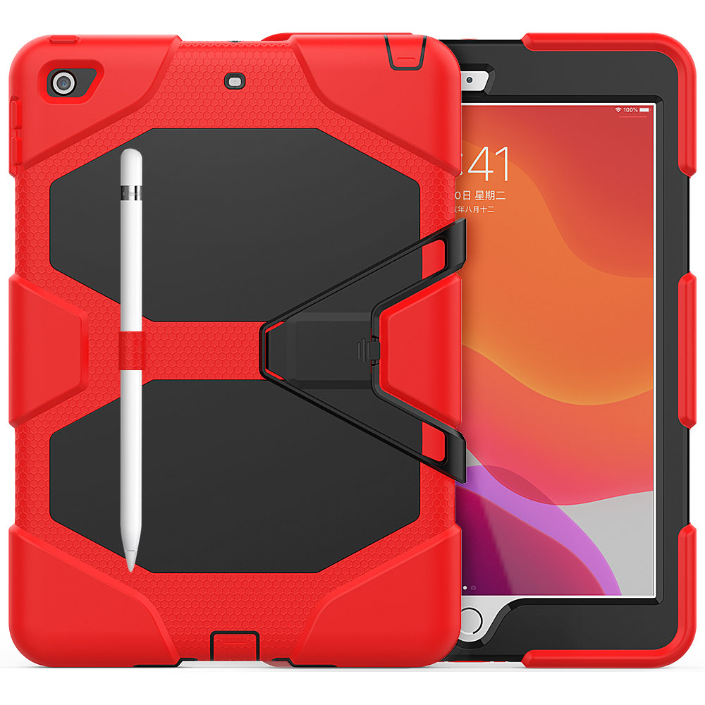 red Red For iPad 10 2 Case Heavy Duty PC Silicone Rugged Armor Kids Shockproof Kickstand Case for