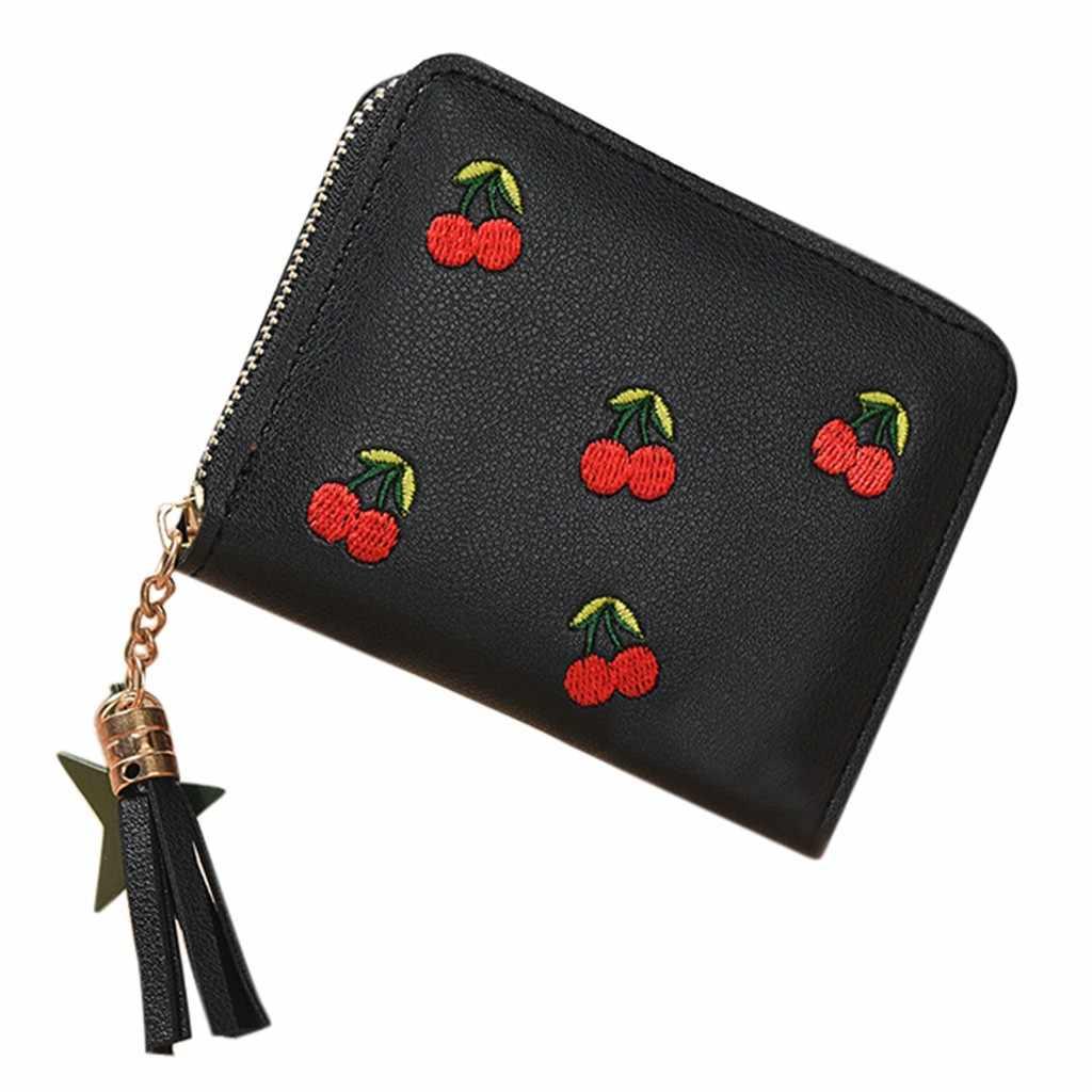 Cüzdan kadın açık moda Trend düz renk saçaklı deri kart cüzdan rahat seyahat çanta carteira mujer portfel