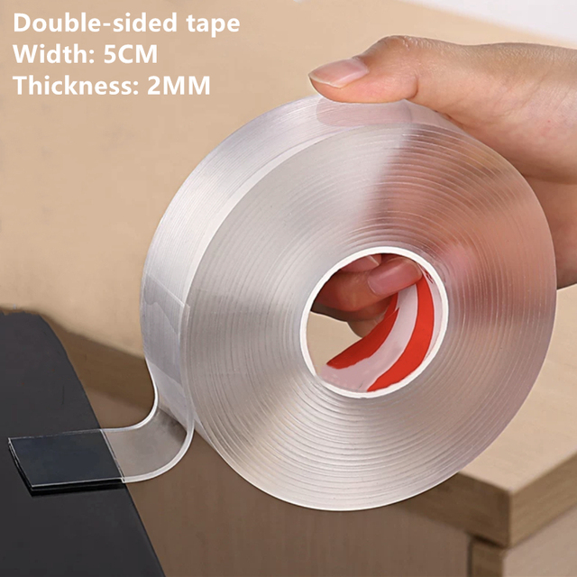 Đa Năng Đôi Băng Keo 2 Mặt Có Thể Giặt Có Thể Tái Sử Dụng Traceless Nano Băng Rộng 5CM Độ Dày 2MM Chiều Dài 5M Băng Dính