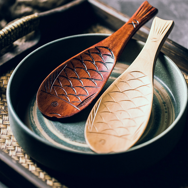Natural Wooden Rice Scoops Fish Spoon Rice Cooker Rice Spoon Creative Non-stick Rice Cartoon Spoon Tableware Kitchen Utensil