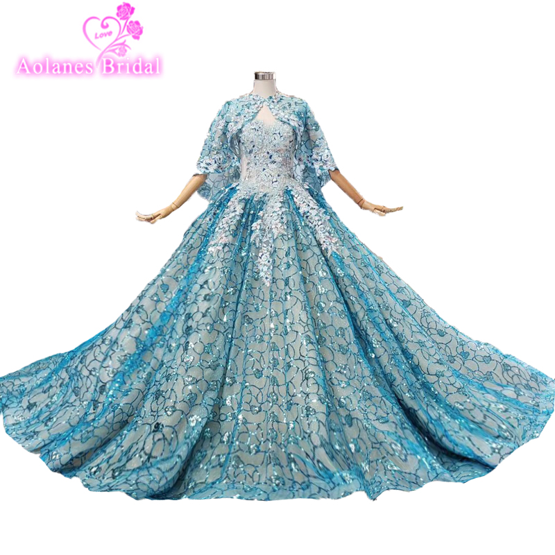 2019 Blue Glitter Lace Evening Dresses Sleeveless With Cape Ball Gown Crystals Vintage Prom Dresses Custom Made Party Dress Gown