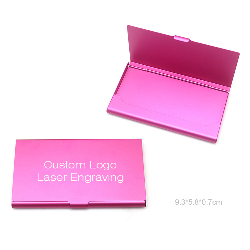 Custom Engrave Logo Text Metal Aluminum Business Card Holder Case for Men Women Pocket Case