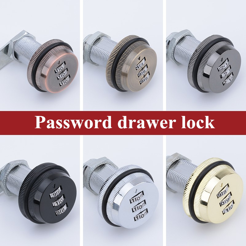 3 Digit Modern Combination Drawer Lock 20mm 30mm Zinc Alloy Keyless Cam Lock For Mailbox Locker Cabinet Door Security Hardware