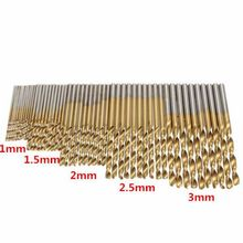 50pcs /100PCS 1-3mm Titanium Coated Twist Drill Bit High Steel for Woodworking Aluminium Alloy Angle Iron Plastic Drill Bit Set