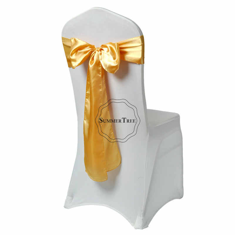 6x108 인치 새틴 의자 새시 나비 넥타이 연회 웨딩 파티의 자 커버 공예 장식 15x275cm 새틴 패브릭