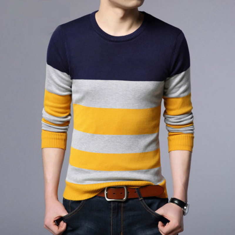 New Sweaters Men Autumn Mens O Neck Striped Sweaters Man Slim Knittwear Pullover Male Homme Multicolor Slim Sweater Pull Homme