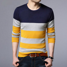New Sweaters Men Autumn Mens O Neck Striped Sweaters Man Slim Knittwear Pullover Male Homme Multicolor Slim Sweater Pull Homme(China)