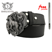 Running Horse Mens Belt Buckle Head with Leather Belt, Silver Accessories for Women
