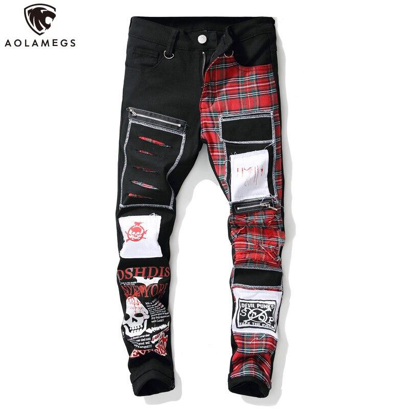 Aolamegs Jeans Men Red Scottish Plaid Print College Style Denim Zipper Decorations Cool Patch Casual Cargo Jeans Streetwear Men