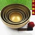 Высокое качество непальская медная большая тибетская Поющая чаша с кожаной наклейкой и подушкой