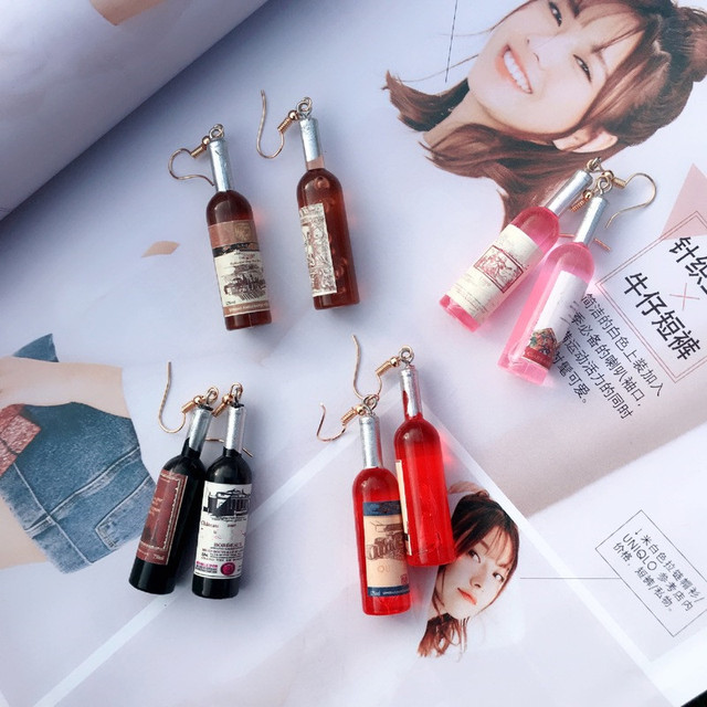 Korean Harajuku Style Earrings Version Funny Hip Hop Fun Stud Earrings Personality Simulation Red Wine Bottle.jpg 640x640 - Korean Harajuku Style Earrings Version Funny Hip Hop Fun Stud Earrings Personality Simulation Red Wine Bottle Creative Earrings
