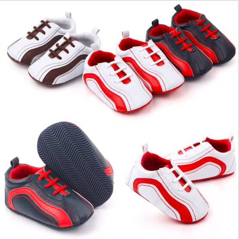 0-18M Baby Shoes Newborn Soft Sole First Walkers Antislip Infants PU Shoes Kids Boys Casual Shoes