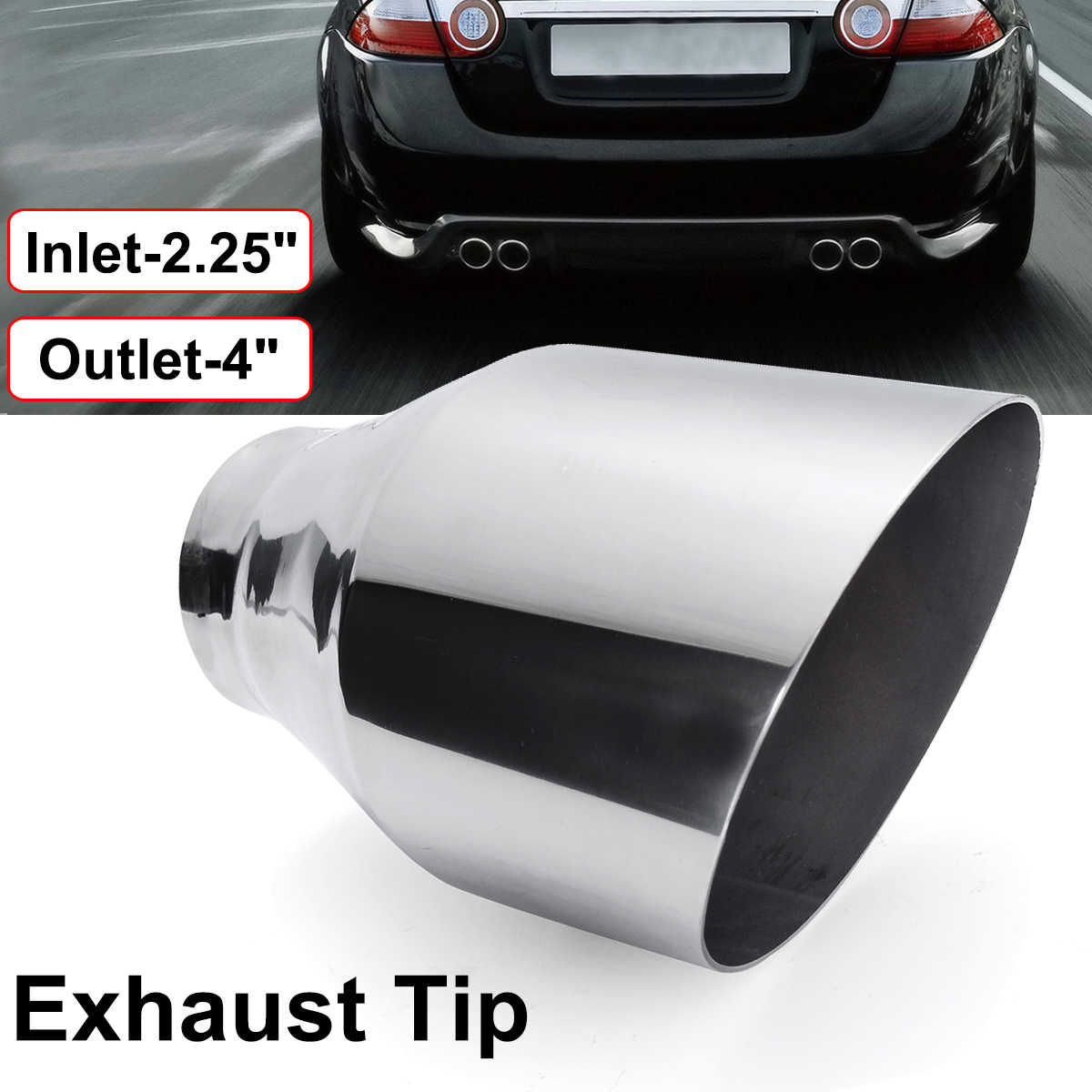 universal 57mm 101mm car exhaust tip auto tail pipe muffler angle cut outlet nozzle 2 25 inlet 4 outlet