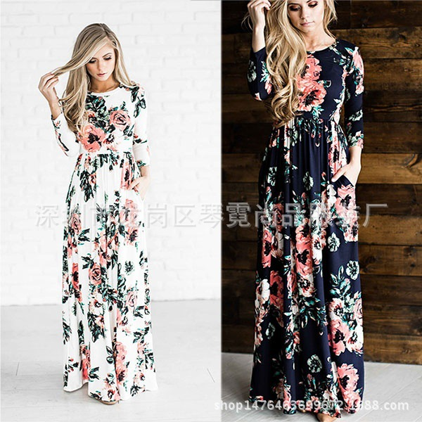 2019 European And American Fashion Famous With Pockets Printed Dress Multi-Color Multi-Code Big Skirt