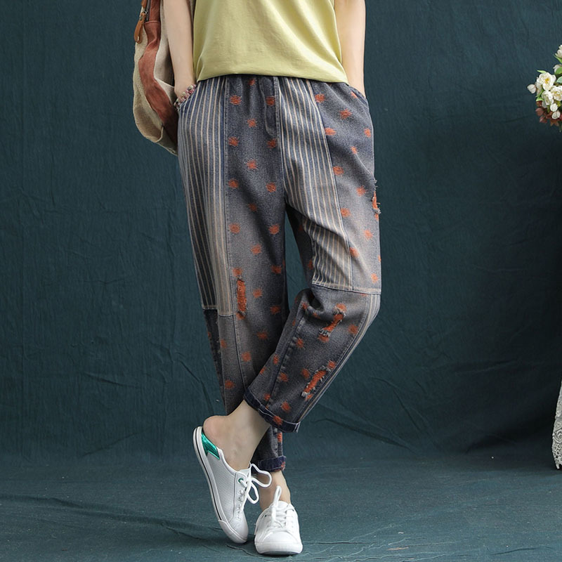 2020 Boyfriend Jeans For Women Ripped Hole Harem Capris Pants Vintage High Elastic Waist Striped Denim Jeans Vaqueros Mujer