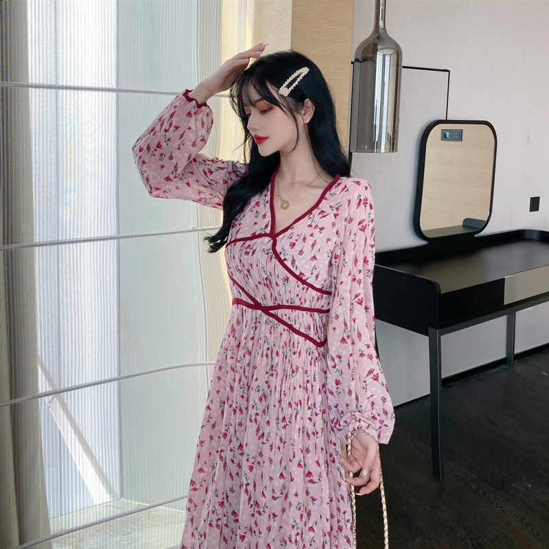 สาวหวาน Draped พิมพ์ผู้หญิงแขนยาว Streetwear สไตล์ดอกไม้นางฟ้าหวานผู้หญิง V คอวันหยุดยาว