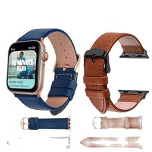 NEW 3 Color Hot Sell Leather Watchband for Apple Watch Band Series 5/3 Sport Bracelet 42mm 38mm Strap For iwatch 6 4 SE Band