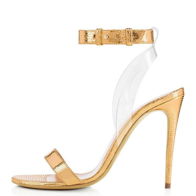 YECHNE Vrouwen Zomer Goud Open Teen Hakken Sandalen Plus Size 34-45 Hoge Hakken Zilveren Bruiloft Schoenen Zwart Gladiator