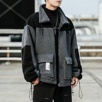 Winter Lamb Fur Jacket Men Warm Thick Parka Men Fashion Contrast Color Lapel Coat Man Streetwear Short Coat Male Clothes M-3XL