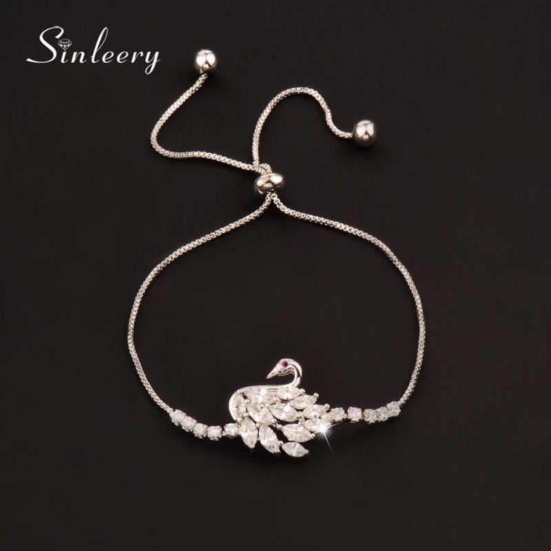 SINLEERY pełna długość 23CM Darzzling cyrkonia bransoletka regulowany łańcuszek srebrny/różowe złoto kolor moda biżuteria SL095 SSB